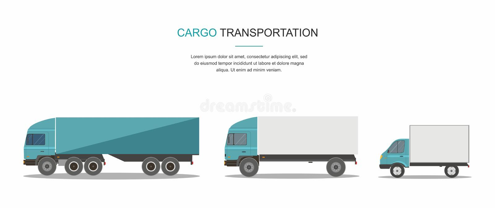 Set Blue Cargo Delivery Truck Isolated on White Background vector illustration