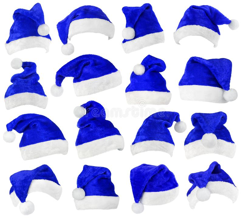 Set of Santa Claus blue hats on white stock photography
