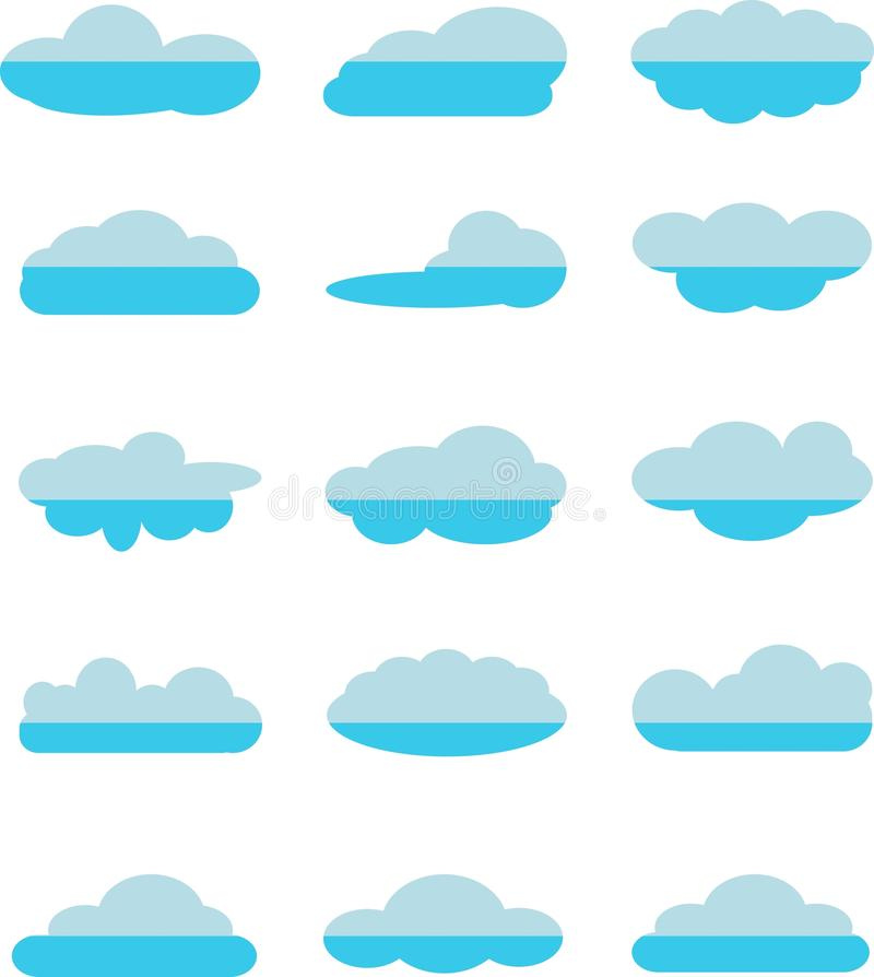 Set of blue clouds icons on white. Stock vector illustration royalty free illustration