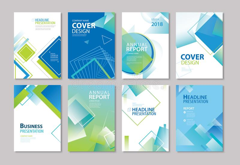 Set of blue cover annual report, brochure, design templates. Use vector illustration