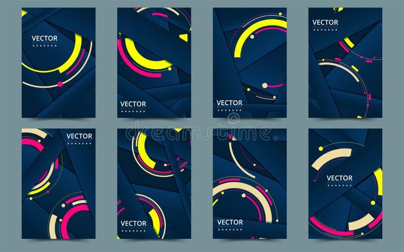 Set of blue cover template for brochure, report, catalog, magazine, book, booklet 创意向量概念 矢量插图 库存例证