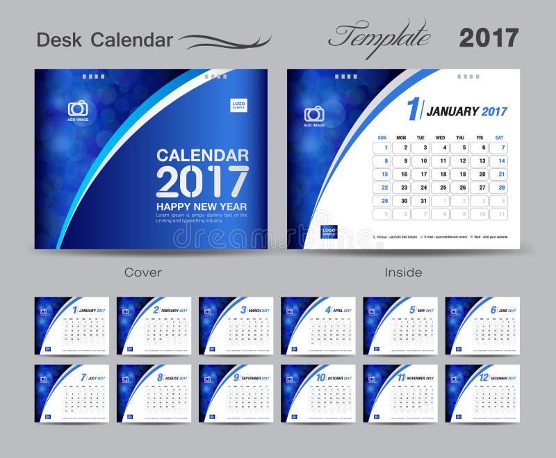 Cover Calendar Design Vector : Set blue desk calendar template design cover