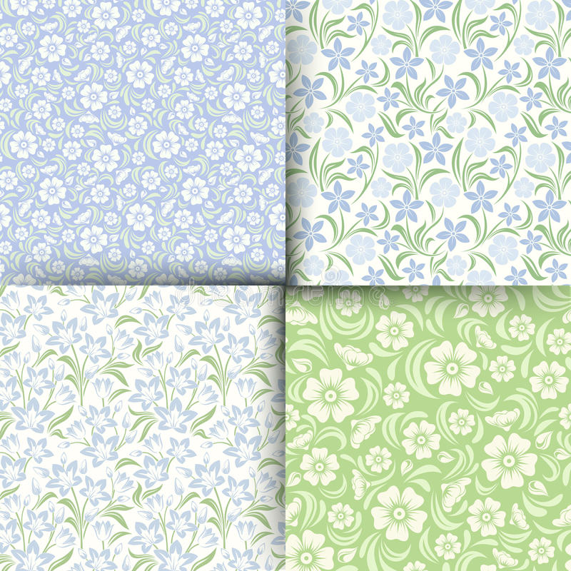 Set of blue and green seamless floral patterns. Vector illustration. vector illustration