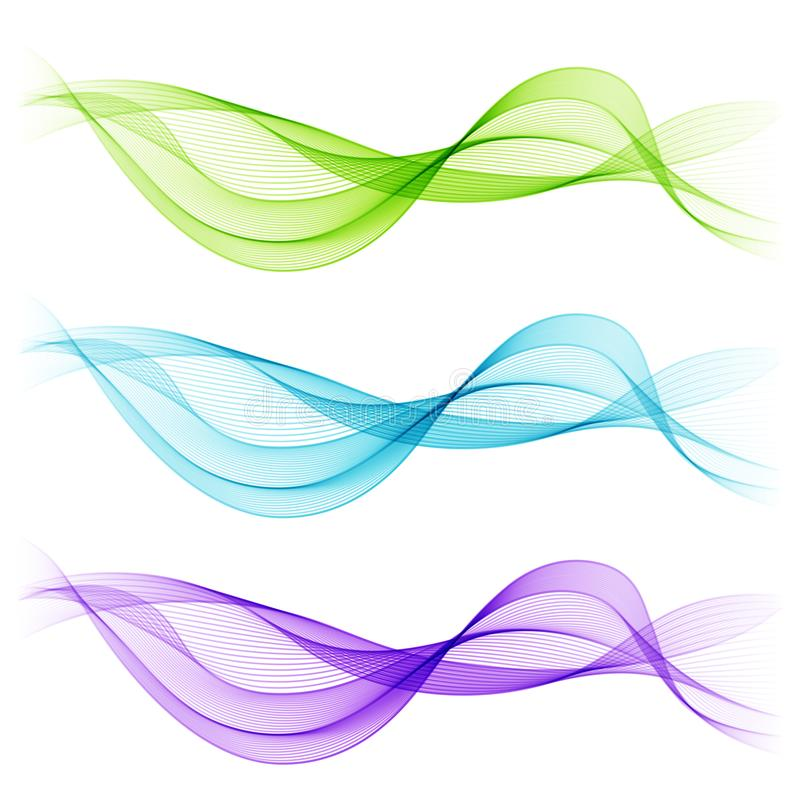 Set of Blue, Green, Violet Abstract Isolated Transparent Wave Li royalty free illustration