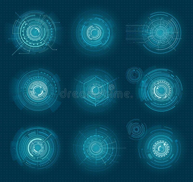 Set of Blue Infographic Elements Interface Virtual stock illustration