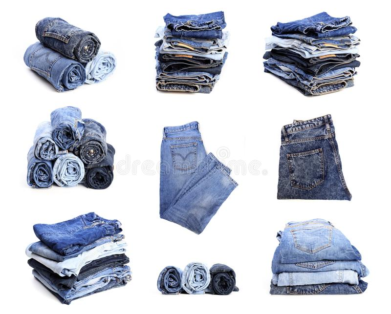 Set of blue jeans isolated on white background. Image stock photography