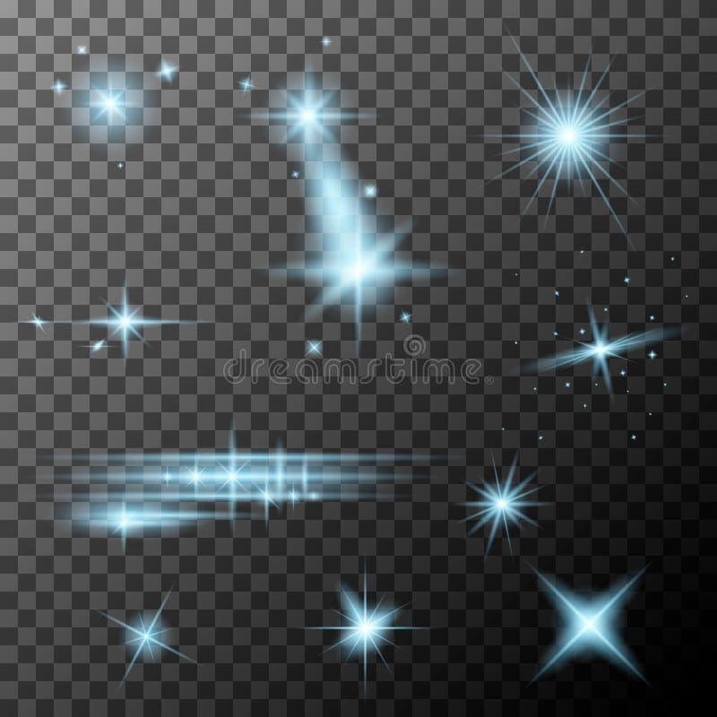 Set of blue lens flares. Cyan sparkles shine special light effect. Vector lens flares on a transparent background vector illustration