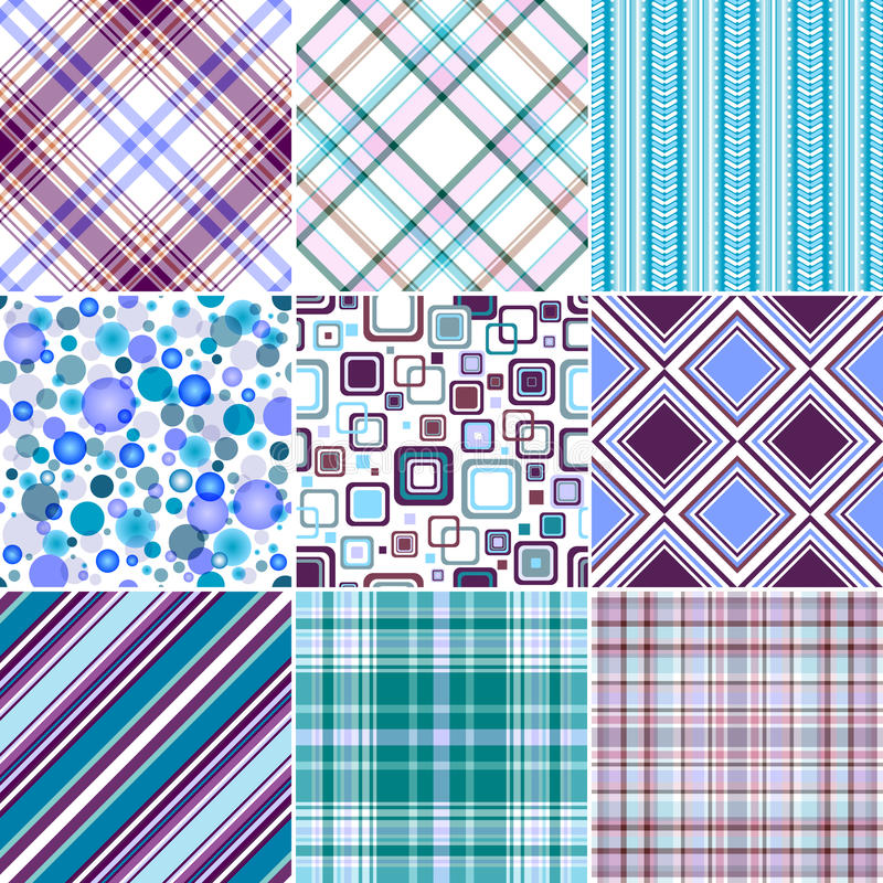 Set blue-lilas seamless patterns stock illustration