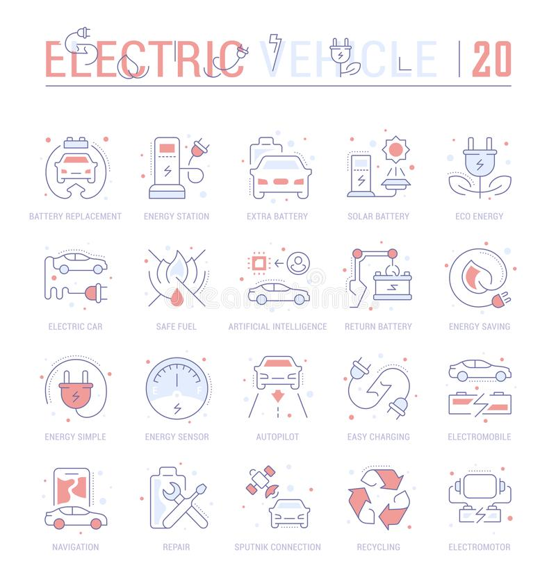 Set Blue Line Icons of Electric Vehicle. vector illustration
