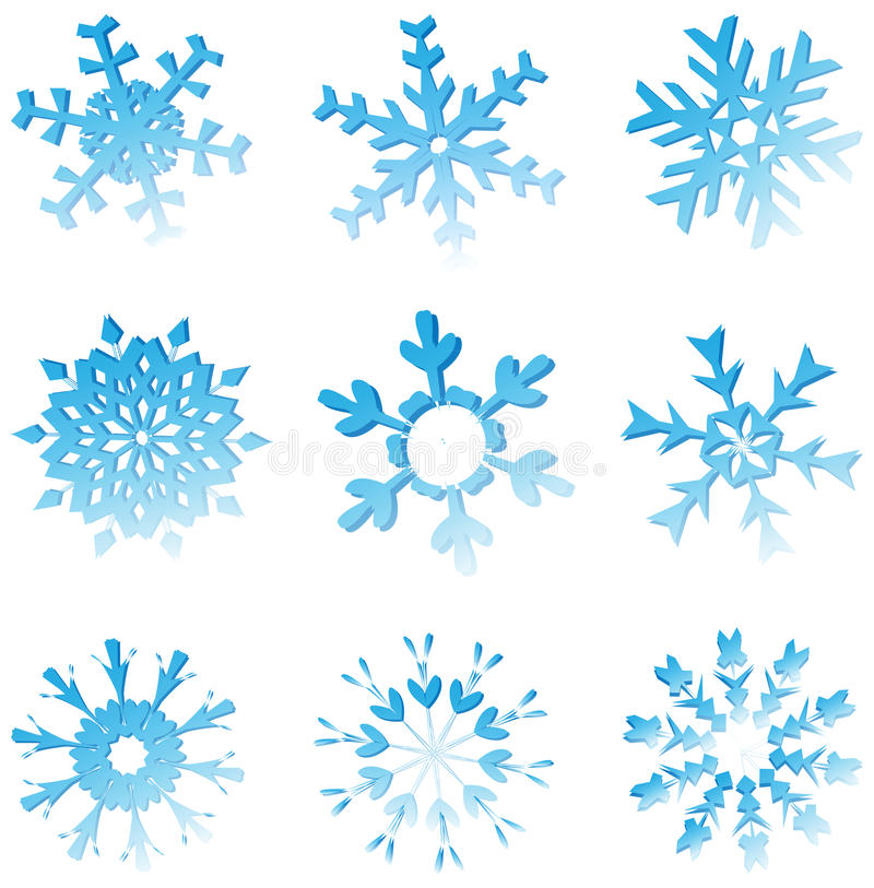 Download Set Of Blue Melting Snowflakes Stock Vector - Image: 22493097