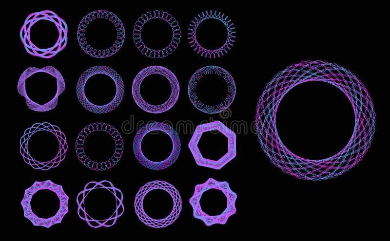 Set of blue neon mandalas. Ornament, circular geometric pattern, spirogram. Oriental pattern. Vector illustration on vector illustration