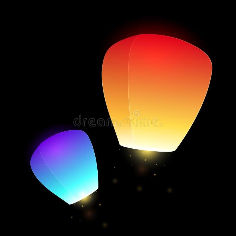 Set of blue and orange flying sky lanterns. For your creativity stock illustration