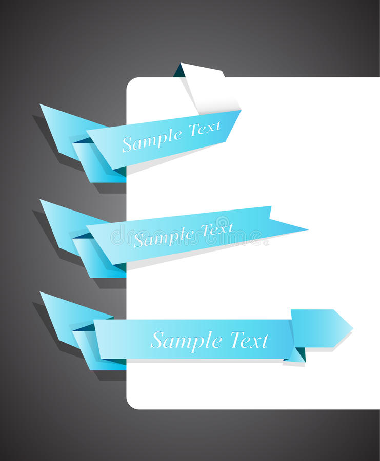 Set Of Blue Origami Ribbons For Your Text. Royalty Free Stock Photo
