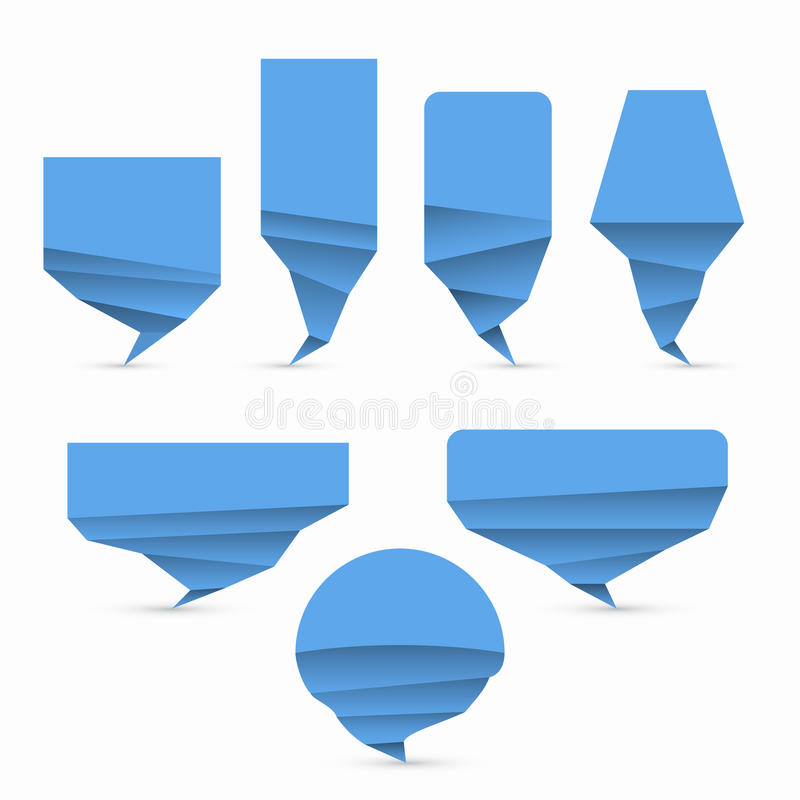 Set of blue origami style vector speech bubble royalty free illustration