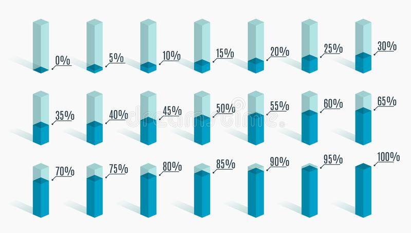 Set of blue percentage charts for infographics, 0 5 10 15 20 25 30 35 40 45 50 55 60 65 70 75 80 85 90 95 100 percent. Vector illustration vector illustration