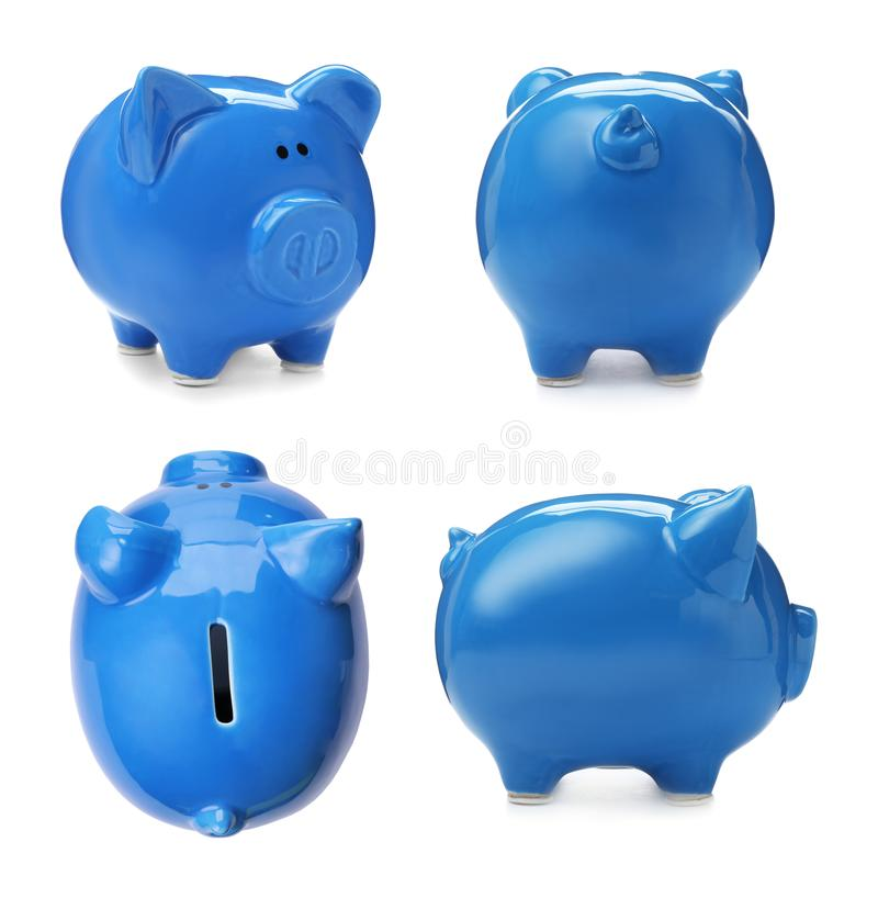 Set with blue piggy bank from different views. On white background stock images