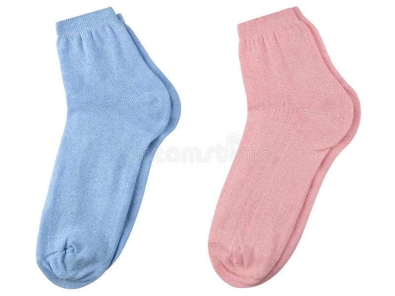 Set of blue and pink female fabric socks on a white background, short. stock images