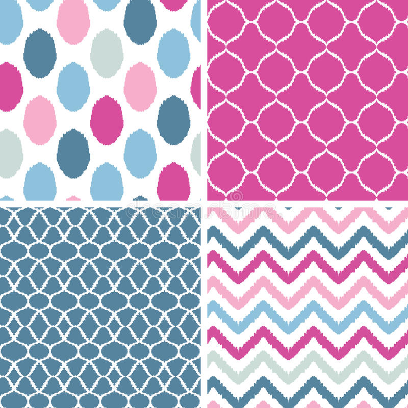 Download Set Of Blue And Pink Ikat Geometric Seamless Royalty Free Stock Photo - Image: 31278165
