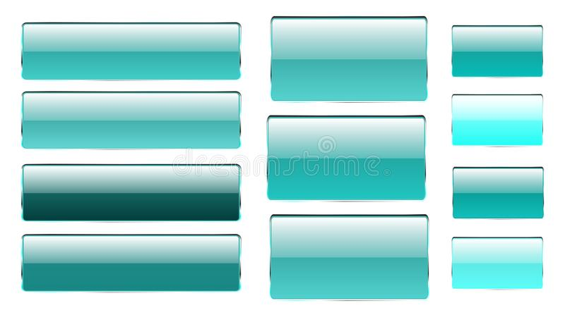 Set of blue rectangular and square glass transparent bright beautiful vector buttons of different shades with a silvery metal fram stock illustration