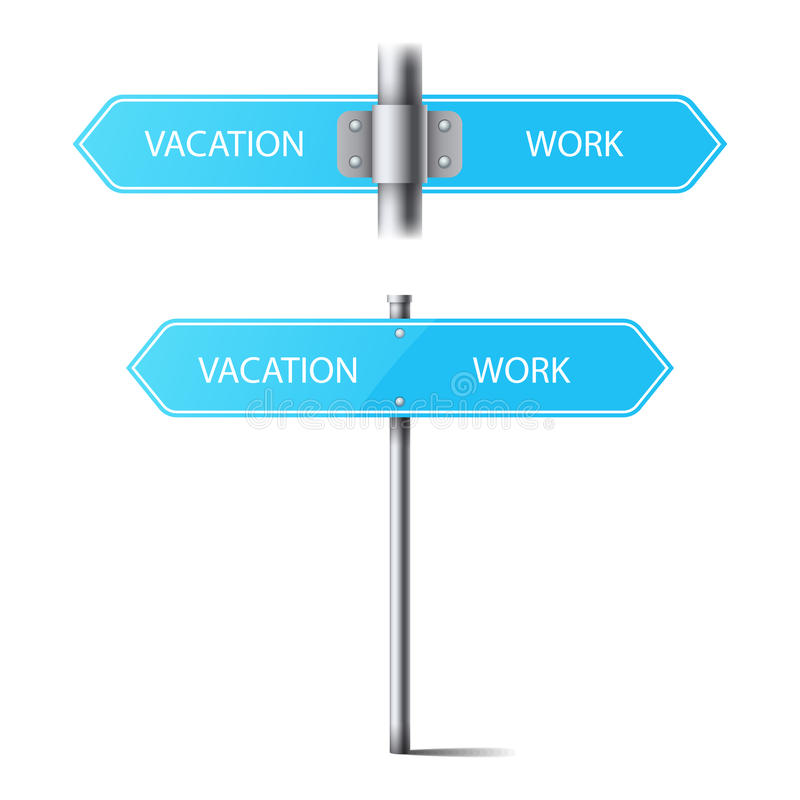 Set of blue road signs on a pole direction. the choice between vacation and work stock illustration