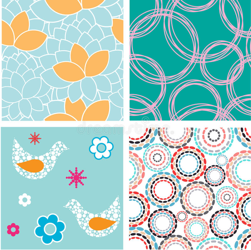 Download Set Of Blue Seamless Patterns Stock Vector - Illustration: 19155436