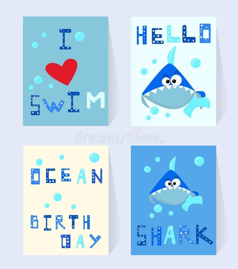Set Blue shark card for birthday. Cartoon character with bubbles and comic inscription I love swim, ocean birthday vector illustration