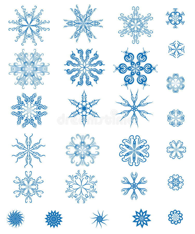 Download Set of blue snowflakes stock vector. Illustration of frost - 21921020