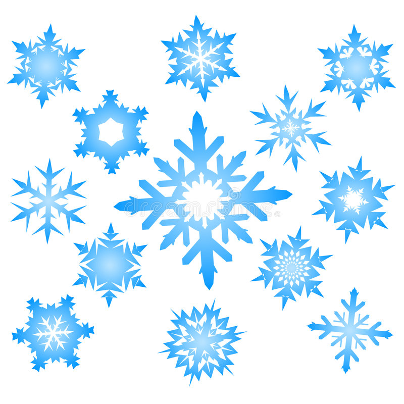 Download Set of blue snowflakes stock vector. Illustration of image - 6468438