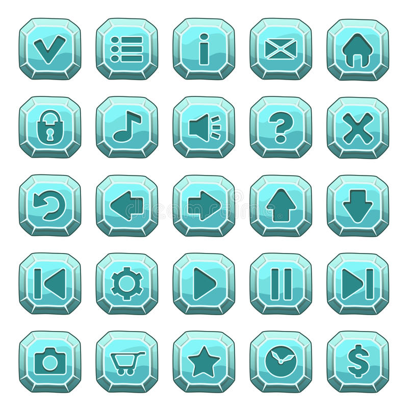 Set of blue stone square buttons stock illustration