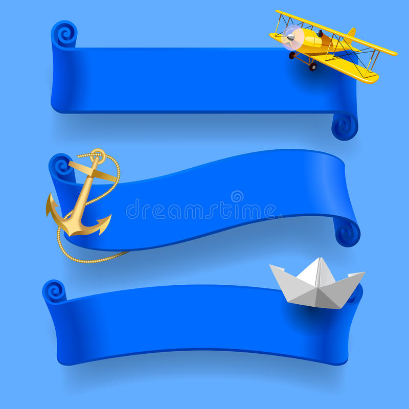 Set of blue traveling ribbons vector illustration