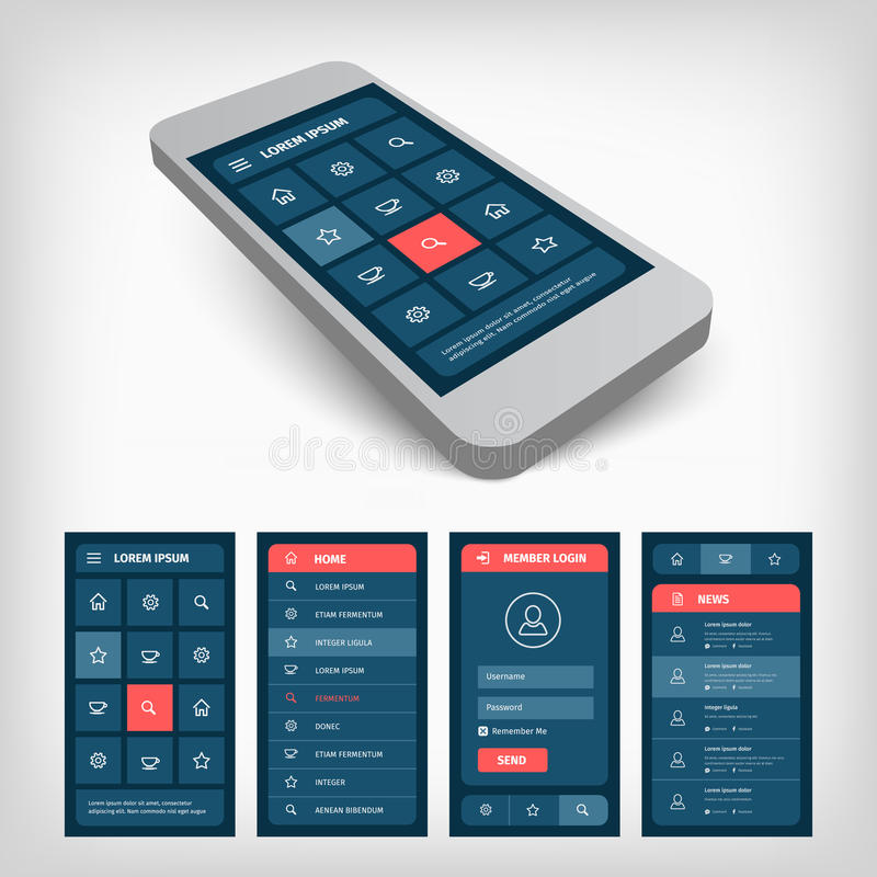 set of blue ui mobile design vector illustration