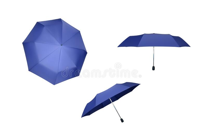 Set of blue umbrellas. royalty free stock images