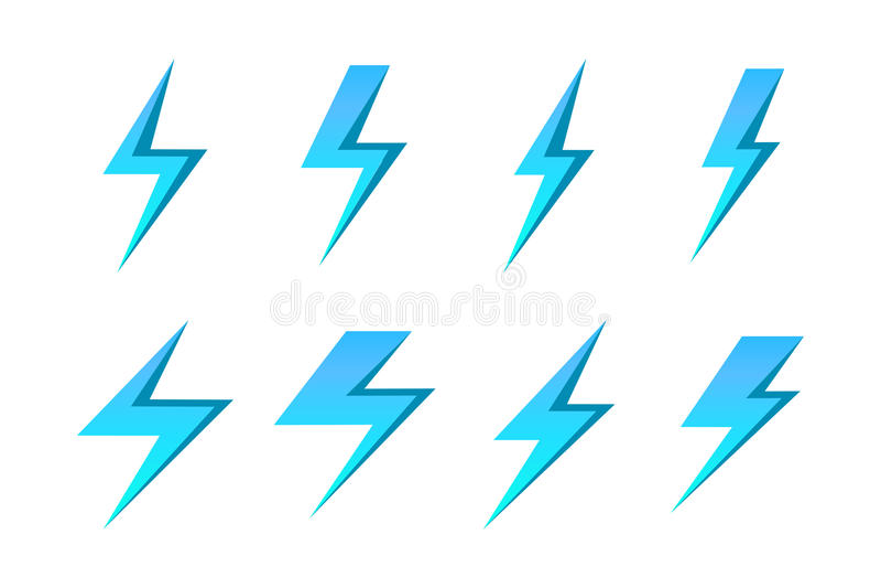 Set of blue vector lightnings over white background vector illustration