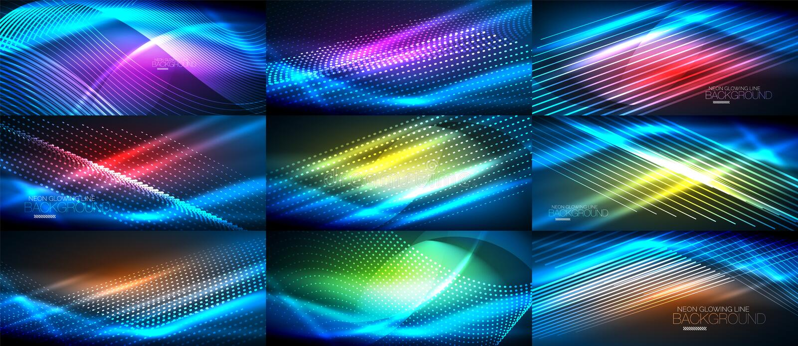 Set of blue neon smooth wave digital abstract backgrounds vector illustration