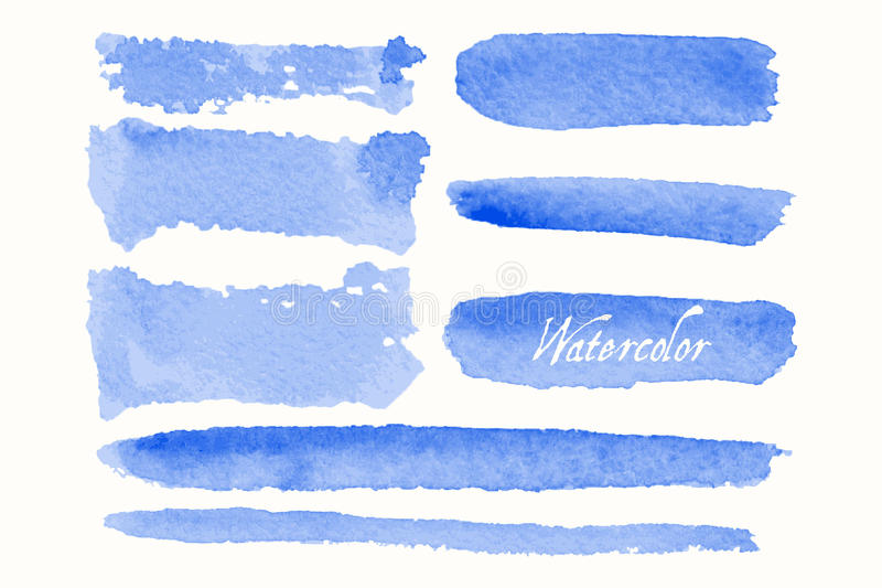 Set of blue watercolor blobs and spots. Isolated on white background. Blank watercolor colored shapes, web buttons for trendy design of your website stock illustration