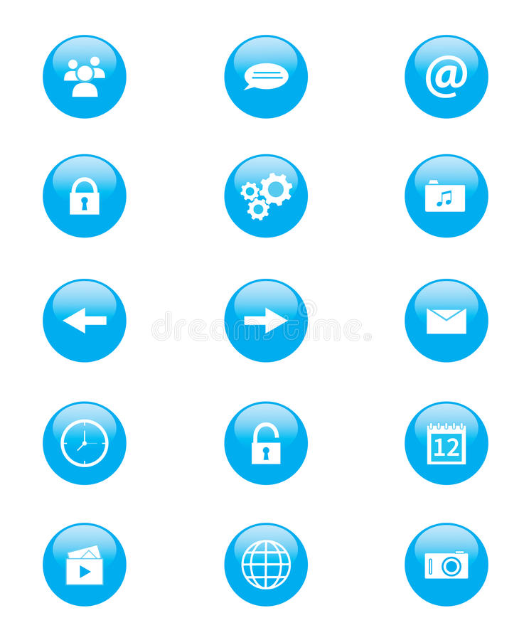 Set of blue and white circular buttons for mobile phone applications or web royalty free illustration