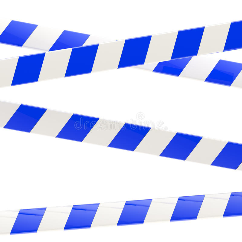 Set of blue and white glossy barrier tapes stock illustration