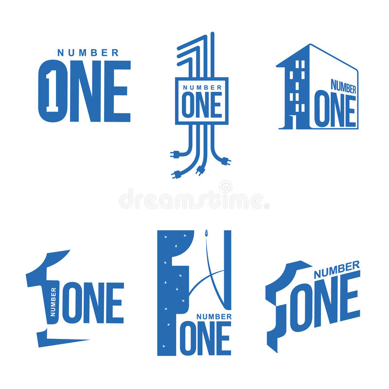 Set of blue and white number one logo templates. Vector illustrations isolated on white background. blue and white graphic number one logo templates, corporate royalty free illustration