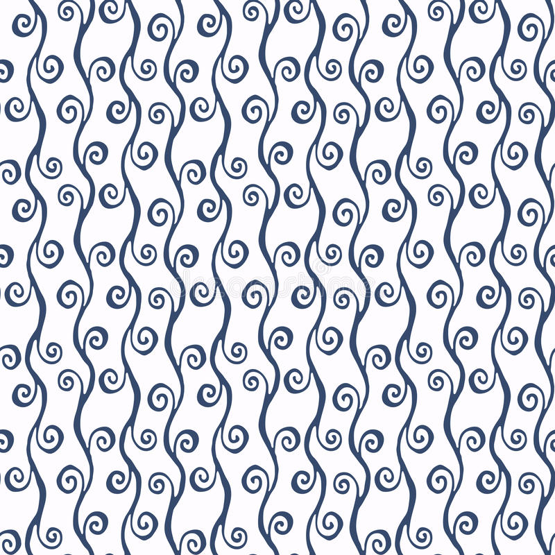 Set of blue and white sea vector seamless pattern. Scrapbook design elements. Abstract hand drawn fabric texture. royalty free illustration