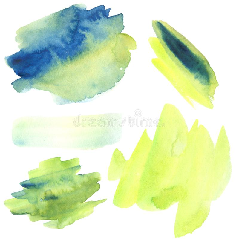 Set of blue, yellow and green watercolor strokes royalty free illustration