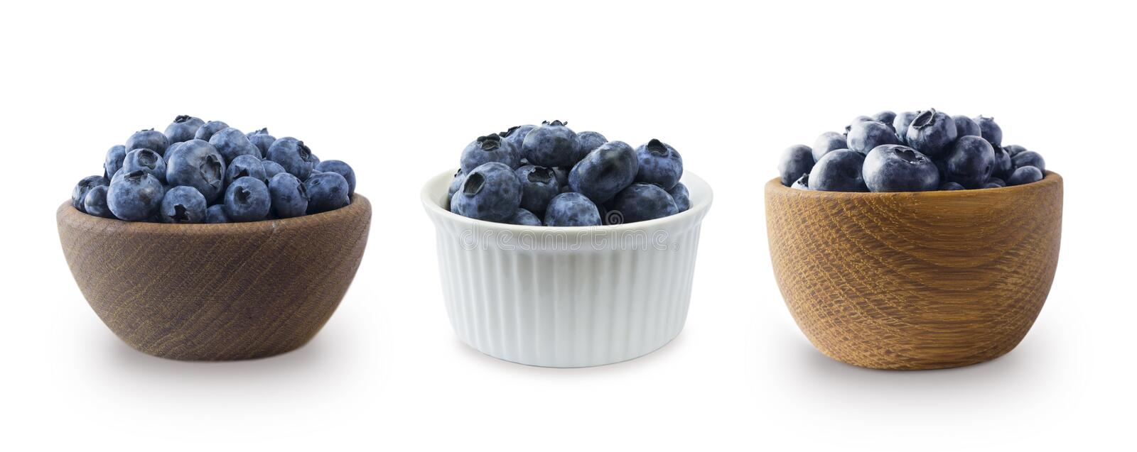 Set of blueberries in a bowl isolated on white. Ripe blueberry with copy space for text. Blueberry on a white background. stock image