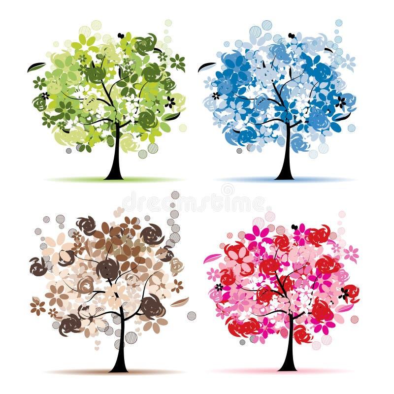 Set Blumenbäume schön für Ihre Auslegung lizenzfreie abbildung