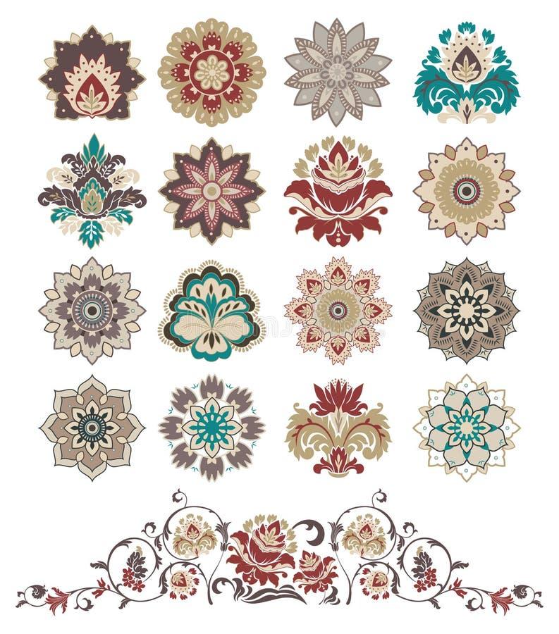 Set Blumenelemente der abstrakten Auslegung. stock abbildung