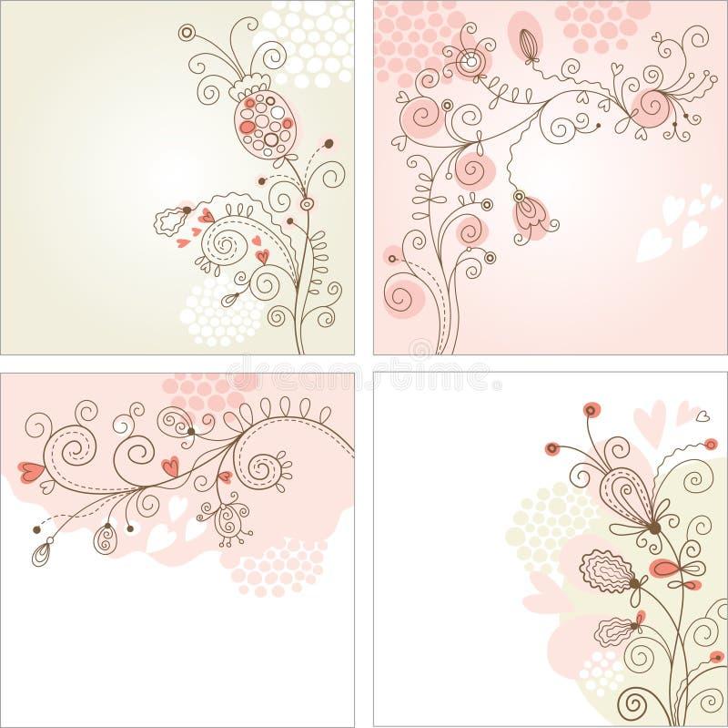 Set Blumenhintergründe stock abbildung