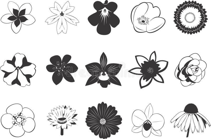 Set Blumenikonen lizenzfreie abbildung