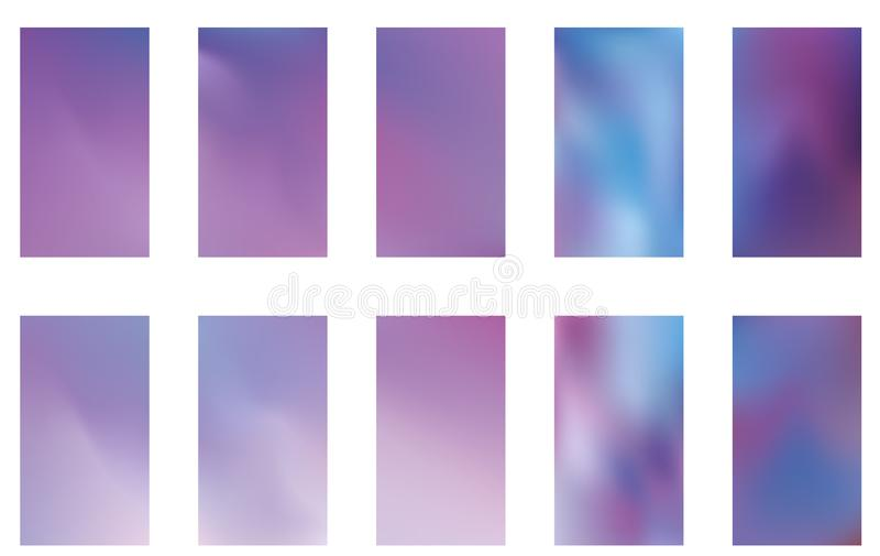 Set of blurred nature dark purple violet pink and blue backgrounds. Smooth banner template. Easy editable soft colored vector royalty free illustration