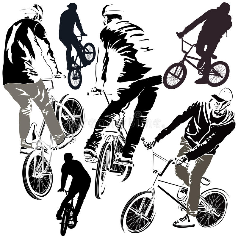Set of BMX Bikers. Collection of silhouettes BMX bikers in various poses stock illustration