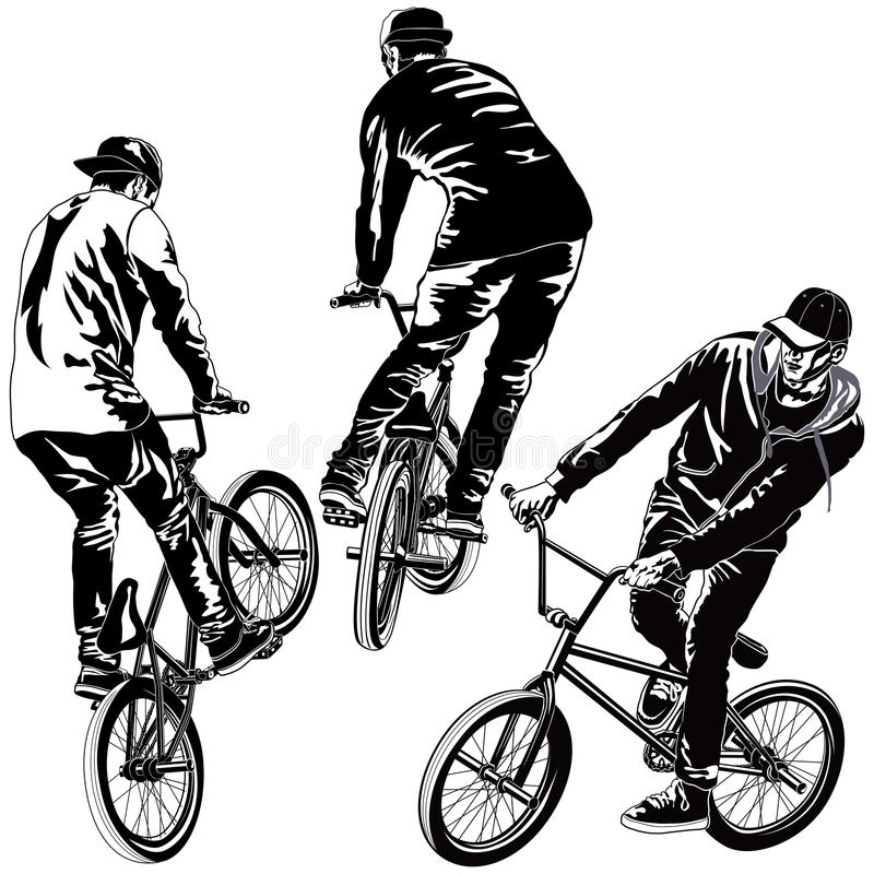 Set of BMX Bikers. Collection of vector BMX bikers in various poses royalty free illustration
