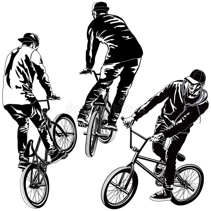 Set BMX rowerzyści royalty ilustracja