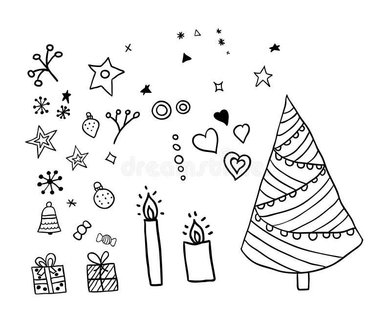 Set boże narodzenia doodle elementy, scandinavian styl ilustracji